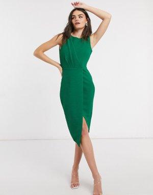 Зеленое платье без рукавов с запахом и драпировкой Closet-Зеленый Closet London