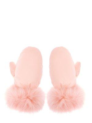 Варежки из ветрозащитного нейлона с пуховым утеплителем YVES SALOMON. Цвет: розовый