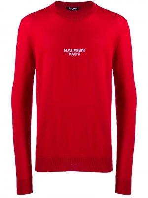 Трикотажный джемпер с логотипом Balmain. Цвет: красный