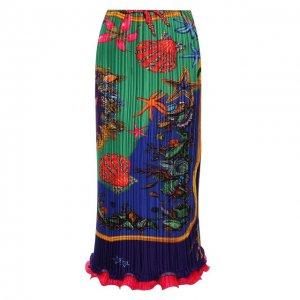 Плиссированная юбка Versace. Цвет: разноцветный