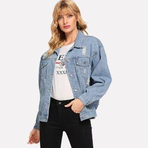 Рваная однобортная джинсовая ветровка с заниженной линией плеч SHEIN. Цвет: синий