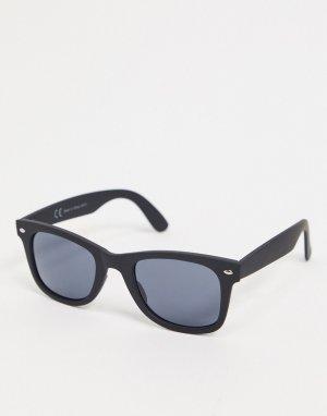 Черные матовые солнцезащитные очки -Черный River Island