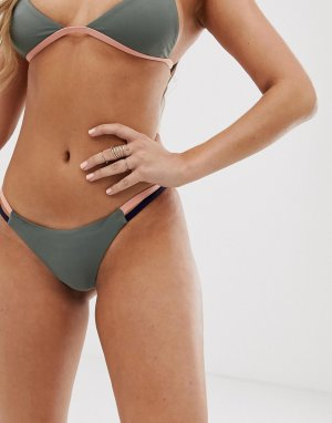 Серые плавки бикини в стиле колор блок -Серый Tavik