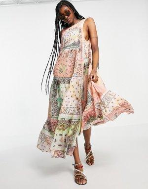 Платье макси в стиле пэчворк с широкой юбкой Bandana Rama-Многоцветный Free People