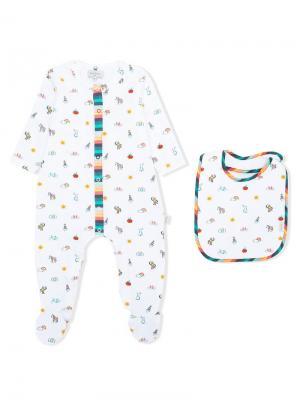 Комплект из пижамы и нагрудника с принтом Paul Smith Junior. Цвет: белый