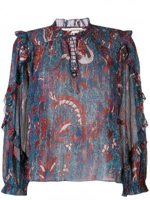 Блузка с цветочным принтом Ulla Johnson. Цвет: синий