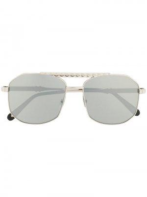 Солнцезащитные очки-авиаторы Philipp Plein. Цвет: серебристый