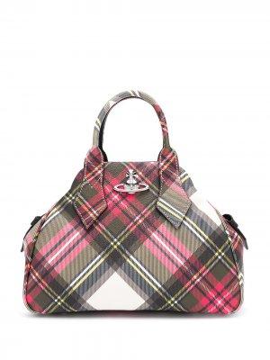 Клетчатая сумка-тоут с логотипом Vivienne Westwood. Цвет: красный