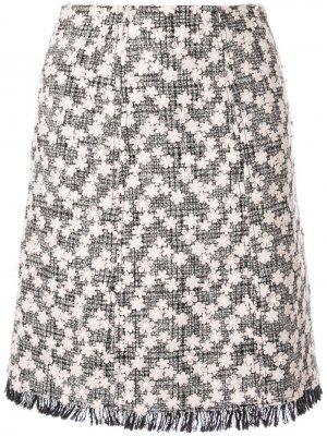 Твидовая юбка миди с цветочной аппликацией Giambattista Valli