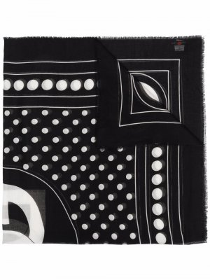 Logo-print frayed-edge scarf Dolce & Gabbana. Цвет: черный