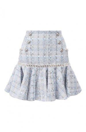 Твидовая юбка Balmain. Цвет: голубой