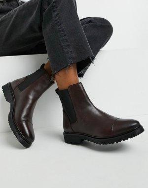 Бордовые кожаные ботинки-челси на плоской подошве -Красный Dune