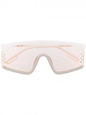 Солнцезащитные очки-маска в массивной оправе Kenzo. Цвет: белый