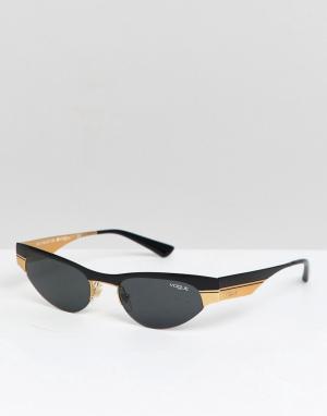 Солнцезащитные очки кошачий глаз в узкой оправе Vogue X Gigi. Цвет: черный