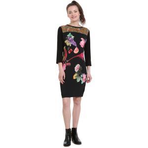 Платье с длинными рукавами, круглым вырезом и цветочным рисунком из джерси DESIGUAL. Цвет: черный наб. рисунок