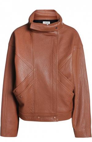 Куртка кожаная Loewe. Цвет: коричневый