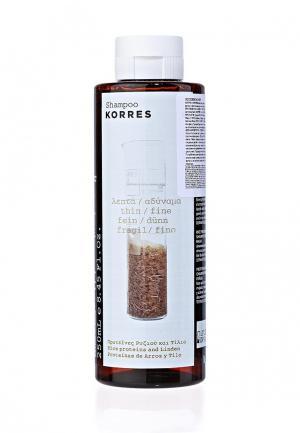 Шампунь Korres для тонких ломких волос с протеинами риса и липой 250 мл. Цвет: белый