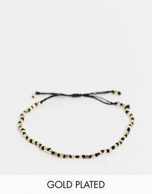 Позолоченный браслет с черным шнурком -Золотистый Pilgrim
