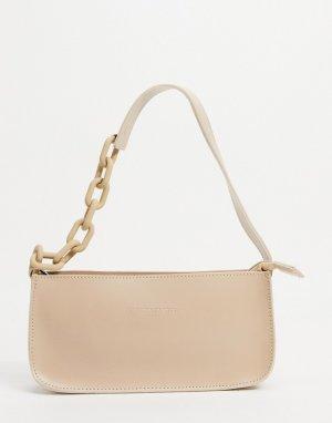 Серо-бежевая сумка с небольшим ремешком цепочкой на плечо -Нейтральный Claudia Canova