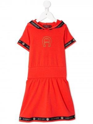 Платье с капюшоном и логотипом Aigner Kids. Цвет: красный