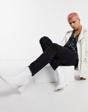 Белые кожаные полусапожки челси на каблуке с круглым носком -Белый ASOS DESIGN