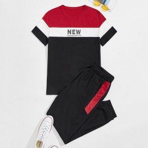 Мужской контрастный & с текстовым принтом Футболка и на кулиске Спортивные брюки SHEIN. Цвет: многоцветный