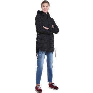 Куртка средней длины с капюшоном DESIGUAL. Цвет: черный