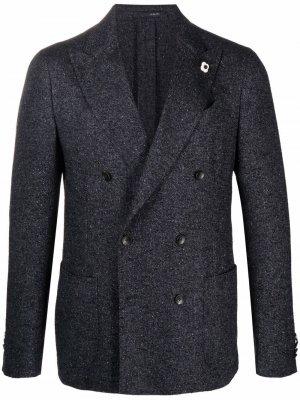 Двубортный пиджак Lardini. Цвет: черный