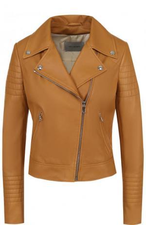 Приталенная кожаная куртка с косой молнией Yves Salomon. Цвет: светло-коричневый