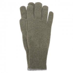 Кашемировые перчатки Brunello Cucinelli. Цвет: хаки