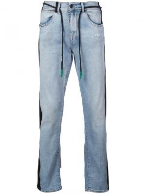 Прямые джинсы с полосками сбоку Off-White. Цвет: синий