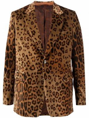 Бархатный пиджак с леопардовым принтом ETRO. Цвет: нейтральные цвета