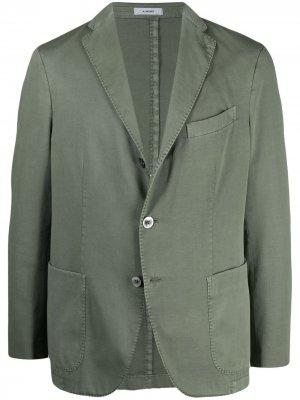 Однобортный пиджак с заостренными лацканами Boglioli. Цвет: зеленый