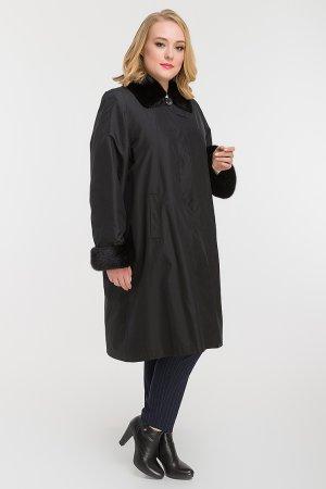 Женское теплое пальто на меху кролика для больших размеров Garioldi. Цвет: черный
