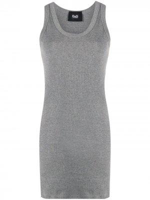 Трикотажный топ в рубчик Dolce & Gabbana. Цвет: серый