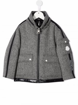 Padded herringone-pattern coat Moncler Enfant. Цвет: черный