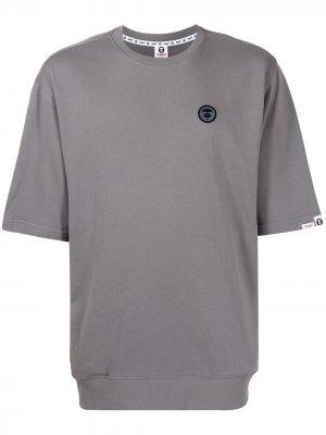 Футболка с короткими рукавами и логотипом AAPE BY *A BATHING APE®. Цвет: серый