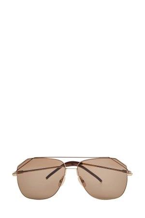 Очки-авиаторы в тонкой металлической оправе с комбинированными дужками FENDI (sunglasses). Цвет: коричневый