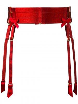 Пояс для чулок с бантами Bordelle. Цвет: красный