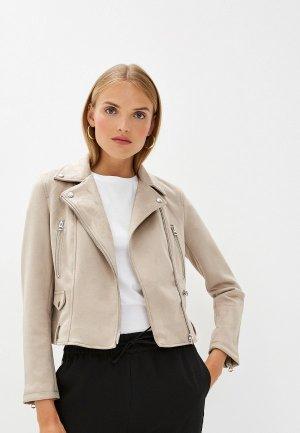 Куртка кожаная French Connection. Цвет: бежевый