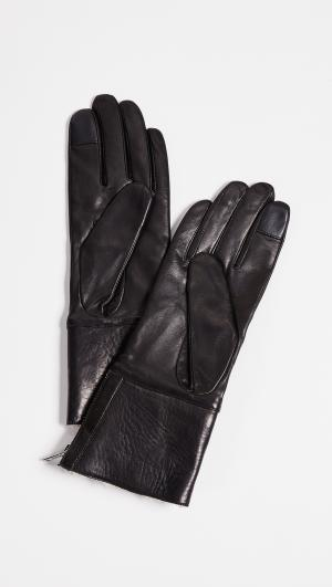 Tech Leather Shearling Gloves Carolina Amato