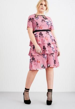 Платье LOST INK PLUS TIERED HEM DRESS IN PRETTY BOTANICAL PRINT. Цвет: розовый