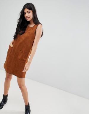 Свободное платье из искусственной замши Kate-Коричневый Deby Debo