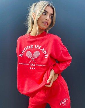 Красный свободный свитшот оверсайз от комплекта с ретро логотипом «теннис» ASOS DESIGN