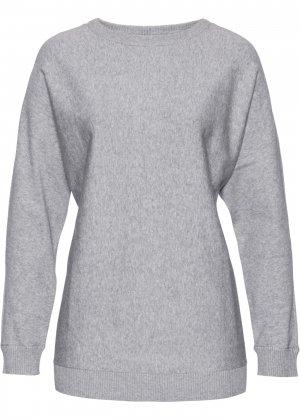 Пуловер с рукавом летучая мышь bonprix. Цвет: серый