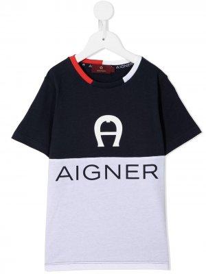 Двухцветная футболка Aigner Kids. Цвет: синий