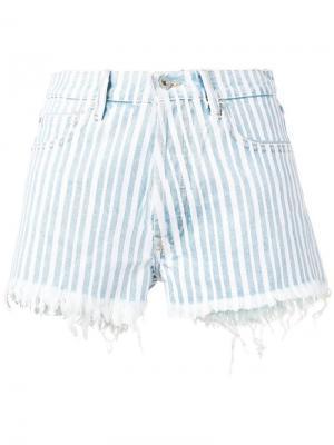 Полосатые джинсовые шорты в диагональную полоску Off-White. Цвет: синий