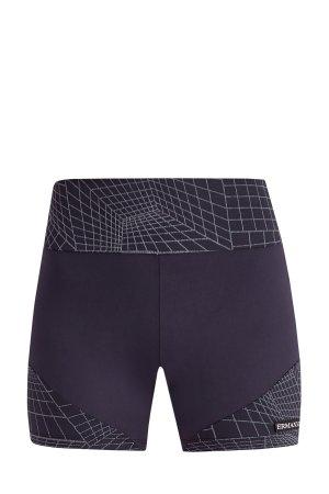 Спортивные шорты на высокой посадке со светоотражающим принтом ERMANNO SCERVINO. Цвет: черный