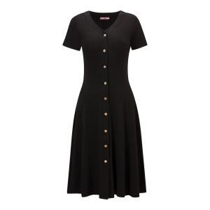 Платье-миди расклешенное с короткими рукавами JOE BROWNS. Цвет: черный