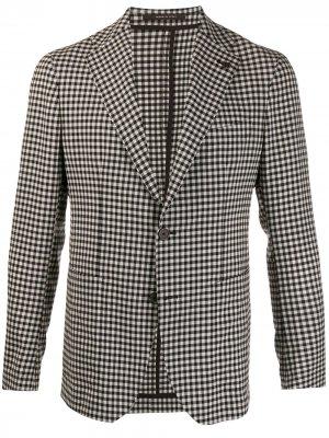 Клетчатый пиджак Tagliatore. Цвет: белый